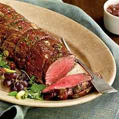 Herbed Beef Tenderloin with Two-Onion Jus Recipes < Healthy Holiday Entrees - Cooking Light Fun Cooking, Cooking Light, Cooking Ideas, Meat Recipes, Cooking Recipes, Healthy Recipes, Healthy Food, Healthy Cooking, Yummy Recipes
