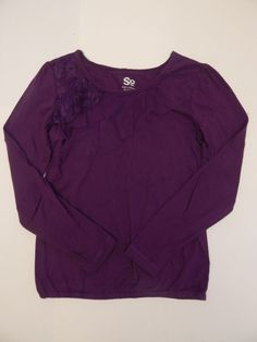 Girls Long Sleeve Purple Shirt with Organza and Lace Detail Size Medium 10-12 #So #Everyday