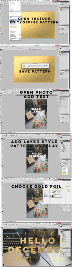 how to add gold foil to photos