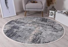 Istanbul Modern Ayla Blue Round Rug   Pile Height: 5mm Material: 65% Polypropylene,35% Polyester Rug Type: Indoor Easy to clean Style(s): Modern & Contemporary Pattern(s):Vintage, Modern