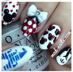 Disney nails minus the bow and round tips