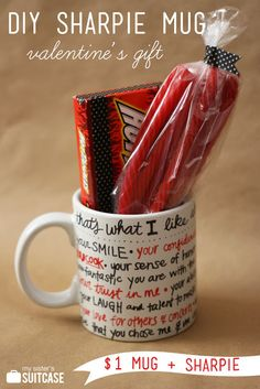 My Sister's Suitcase: DIY Sharpie Mug Valentine Gift. Apparently you can bake sharpie on ceramics and it is permanent? Valentines Bricolage, Valentine Day Crafts, Be My Valentine, Valentine Ideas, Printable Valentine, Homemade Valentines, Valentine Wreath, Valentines Party Decorations, Craft Gifts