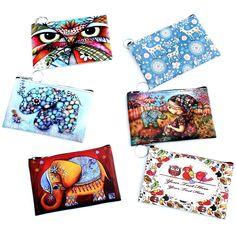 올빼미 코끼리 기린 인쇄 여성 동전 지갑, 여성 클러치 변경 지갑, 만화 제로 지갑, 여성 지퍼 동전 가방 지갑 파우치