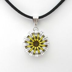 Daisy pendant necklace, chainmail jewelry