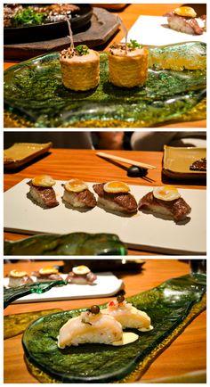 The ultimate Nikkei cuisine experience. One of Maido's famous sours – Tumbao: Pisco, tuna roja, maracuyá. Gunkan de Foie: Foie mousse, black quinoa, artisan honey, dehydrated onions, Maras salt. Guratan nigiri: Ebi Furai and avocado topped with cream cheese and chimichurri drizzled with eel sauce.