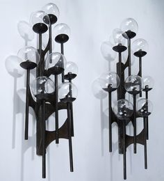 Anonymous; Custom Acid-Etched Bronze and Blown Glass Sconces  by Lightolier, 1960s.