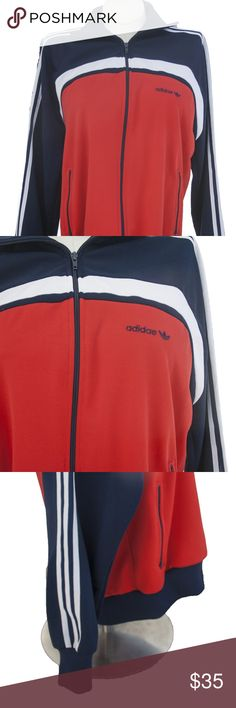 4b9f9098b46 Adidas retro multi colored track jacket Adidas track jacket size Large. Red  white and blue