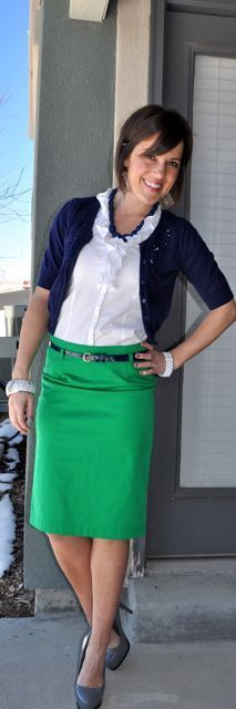 colorful pencil skirt work outfit - Google Search