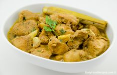 Chicken curry  http://www.dailyfoodrecipes.com/sri-lankan-spicy-chicken-coconut-curry/