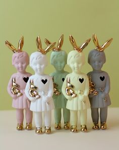 special design little dolls porcelain. Golden bunny ears!!  #lammersenlammers New in our shop:  studiodewinkel.nl