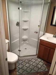 ...and a bathroom, complete with a shower stall.