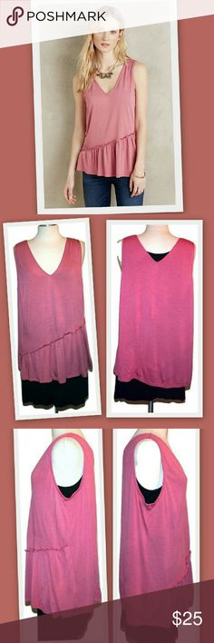 """Anthropologie Dolan Left Coast Pomona Peplum Tank Anthropologie Dolan Left Coast Pomona Peplum Tank. Modal knit. Ruffled peplum hem. Pullover styling. Salmon color.  Made in USA   This was purchased directly from the manufacturer Dolan and is brand new.  The Anthropologie tag was removed when I purchased the items to prevent store returns and replaced with my tag. In addition, the label was sliced to prevent store returns.  Bust 44"""" Waist 46"""" Length 28"""" Anthropologie Tops Tank Tops"""