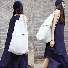 Handmade Ice Blue Natural Linen 2 ways Backpack