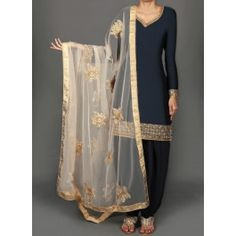 Navy Blue and Gold Embroidered Punjabi Suit