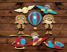Retro Airplane birthday cupcake toppers, Pilot Birthday Party, retro flying party, hot air balloon topper, vintage airplane party, on Etsy, $8.00