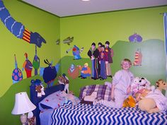 Alek's Room with Yellow Submarine Mural 06 by Fitcharoo, via Flickr