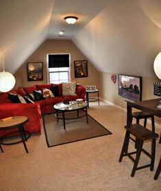 Stunning Attic bedroom insulation,Attic remodel and Attic game room ideas. Attic Game Room, Attic Rooms, Attic Spaces, Small Spaces, Attic House, Attic Playroom, Attic Apartment, Attic Bathroom, Attic Floor