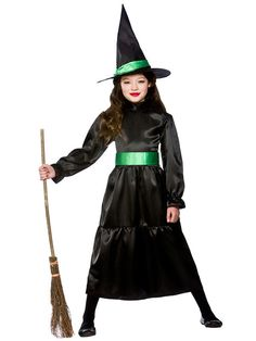 Wicked Witch + Hat Girls Halloween Fancy Dress Kids Wizard of Oz Child Costume