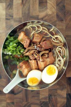 Pork Belly Ramen Made this last night. Make it, ASAP. So freaking good. Top Ramen Recipes, Asian Recipes, Japanese Recipes, Momofuku Recipes, Good Food, Yummy Food, Asian Soup, Pork Belly, Soup And Salad