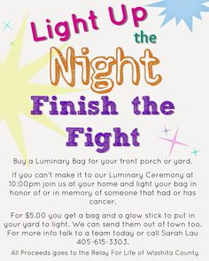 Why didn't I think of this? People can purchase a luminaria to put on their porch if they can't make it to the lum ceremony! BRILLIANT!