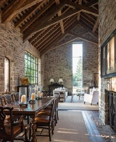 Beautiful stone House, lovely rafters, modern windows. Love.
