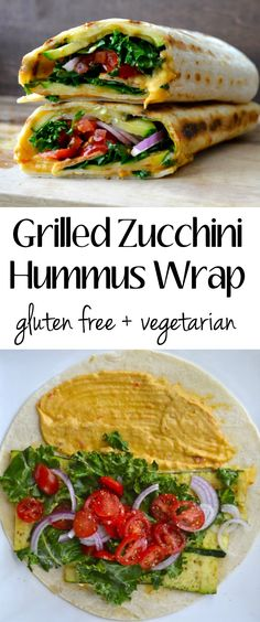 Fresh veggies are grilled to perfection and packed in this Grilled Zucchini Hummus Wrap! Skin Nutrtion