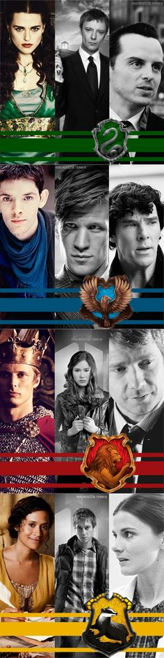 Characters from Merlin, Doctor Who, and Sherlock sorted into Hogwarts houses