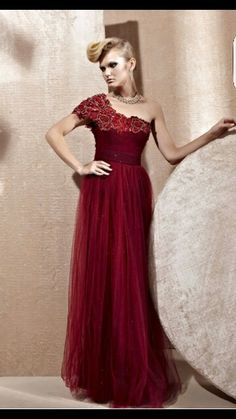 d616a147e6 Maroon with gold flowers around neckline Formal Evening Dresses