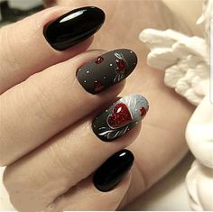 New Collections of Best Valentine's Day Nail Art Design red nail art designs; Holiday Nails, Christmas Nails, Black Nails, Pink Nails, Shellac Nails, Nail Art Coeur, Cute Nails, Pretty Nails, Valentine's Day Nail Designs