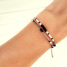 Black Onyx Bracelet bead pyrite bracelet Miyuki by ToccoDiLustro