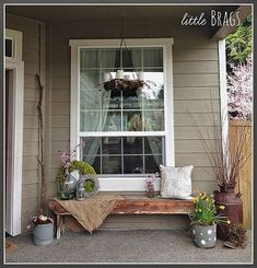 an early spring porch decorated with nature, crafts, outdoor living, porches, seasonal holiday decor, wreaths