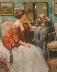 Woman at Looking Glass | Fernand Toussaint (1873-1956)
