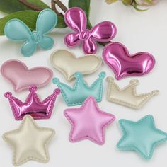 New Arrival 100PCS PU Fabric Style Heart Butterfly Star Crown Button Patch Sticker Fit for Kids Girl Hair Jewelry Decoration