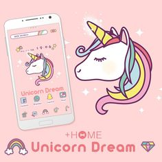 """Unicorn Dream""   Unicorns are a symbol of fantasy for people around the world, and for good reason! Download this theme today to get taken away to your fantasy!  Download Now:http://bit.ly/2pbV67Z  #cute #wallpaper #kawaii #design #icon #plushome #homescreen #widget #deco"