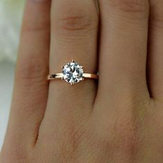 1.5 ct Engagement Ring 6 Prong Solitaire Ring Man Made
