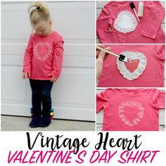 DIY Vintage Heart Shirt for Valentines Day - Make this vintage heart shirt for. DIY Vintage Heart Shirt for Valentines Day – Make this vintage heart shirt for Valentines Day! Valentine Shirts, Diy Valentine's Shirts, Diy Shirt, Valentines Day Activities, Valentine Day Crafts, Easy Crafts For Teens, Kids Crafts, Preschool Projects, Craft Projects