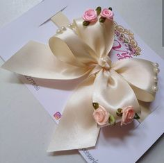 Diy ribbon flower with beads grosgrain flowers with beads t Diy Ribbon Flowers, Ribbon Work, Ribbon Crafts, Fabric Flowers, Diy Crafts, Handmade Hair Bows, Diy Hair Bows, Handmade Flowers, Ribbon Hair