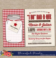 Bridal Shower Invitation  I DO BarBQue  Couples Shower Barbecue Country Western with Mason Jar Invitation by BlissfulPixels, $16.99