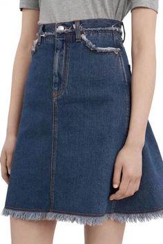 $27.99 | Blue High Waist Distressed Raw Hem A Line Denim Skirt | Psychedelic Monk