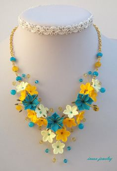 Turquoise Jewelry Flower Necklace Statement от insoujewelry