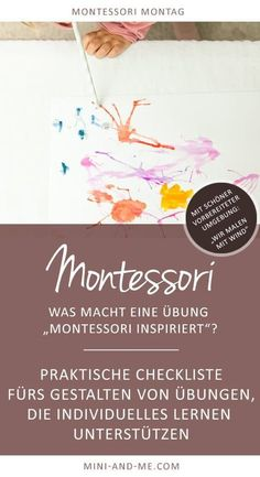 """When is an exercise """"Montessori Inspired""""? (With an exciting experiment: we paint with wind!) - Understand Montessori: What does a """"Montessori Inspired"""" exercise do? And: We paint with the wind! Kindergarten Montessori, Montessori Trays, Montessori Education, Montessori Toddler, Maria Montessori, Montessori Materials, Montessori Activities, Menu Dieta, Baby Co"""