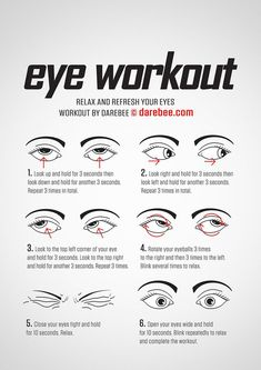 These eye exercises will help boost eyesight, range as well as reduce fatigue and tension Also helps to improve visual problems such as nearsightedness, eyestrain, farsightedness, tension headache etc - health-fitness Fitness Workouts, Quick Workouts, Easy Fitness, Fitness Sport, Yoga Fitness, Darebee Workout, Healthy Eyes, Healthy Habits, Face Yoga
