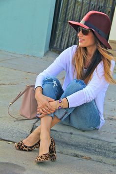 oxblood fedora, leopard pumps
