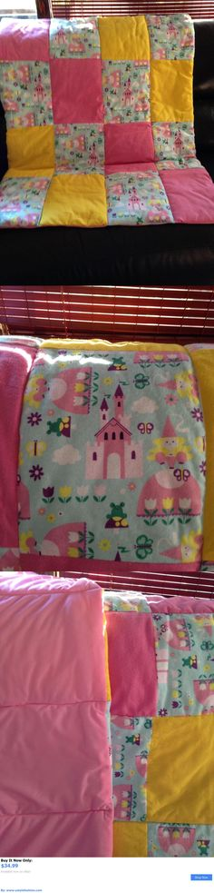 Quilts And Coverlets: Homemade New Pink And Yellow Princess Baby Quilt 37 X 45 Inches Flannel And Nylon BUY IT NOW ONLY: $34.99 #ustylefashionQuiltsAndCoverlets OR #ustylefashion