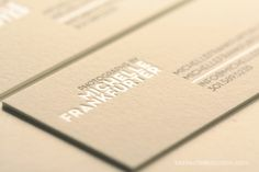 business card - cream and silver very chic