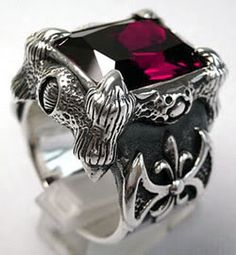 Ruby Claw Mens Ring