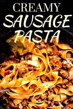#easysausagerecipes #italian #sausage #comfort #pasta #cream #sauce #food #in Italian Sausage Pasta In Cream Sauce   - Italian Comfort Food Italian Sausage Pa... Recipes Using Italian Sausage, Sausage Pasta Recipes, Pasta Dinner Recipes, Easy Pasta Recipes, Pork Recipes, Italian Recipes, Sweet Sausage Recipes, Sausage Recipes For Dinner, Italian Foods