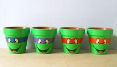 TMNT Ninja Turtles painted flower pot set of 4 birthday, pot set, tmnt ninja, painted flower pots, turtl paint, painted flowers, ninja turtles, garden, paint flower