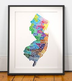 New Jersey art print typography map art new jersey by joebstudio