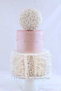 Pink and White Lace and Pearls, Ruffles and Pearls Du Jour. I want this cake